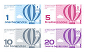 Vector Abstract Cute Color Banknotes Set