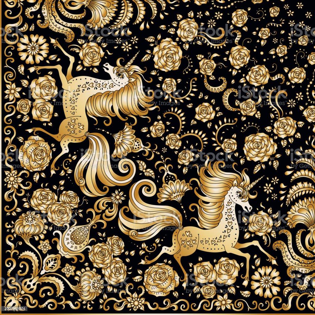 Ilustracion De Vector De Impresion Abstracta Lindo Unicornio Dorado