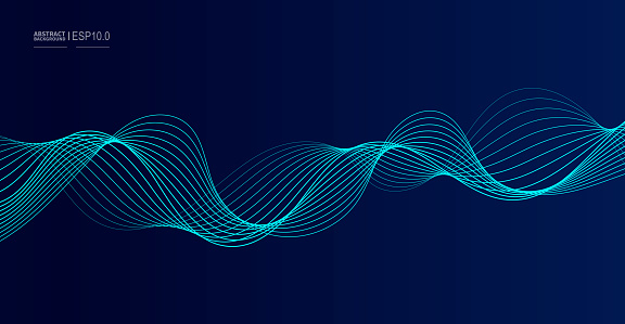Vector abstract dark background flowing smooth curves