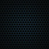 Vector abstract dark background with seamless pattern of hexagons.