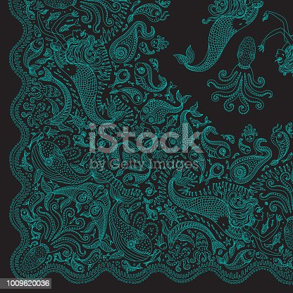 Vector abstract dark green mermaid print on a black background. Turquoise Paisley pattern, hand drawn fish, fantasy sea animals, ornate cute octopus. Quarter scarf, to get the whole shawl should be rotated around the upper right corner