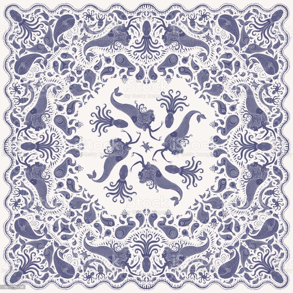 02b860e93b79 Sirène bleue indigo du sombre-abstract Vector imprimer sur fond beige. Motif  Paisley,