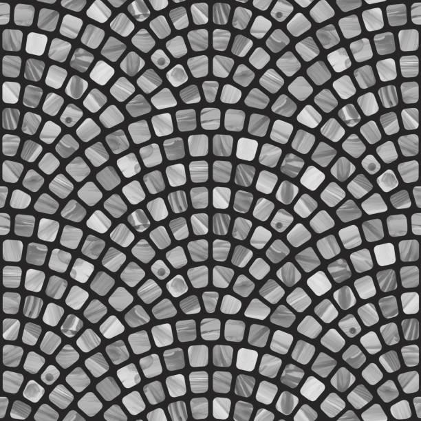 vector abstract dunkle, wellige, nahtlose geometrische muster mit grauer pinselstrichstruktur auf schwarzem hintergrund. bodenfliesen, tapete, packpapier, seite füllen mediterrane keramik terrazzo mosaik - steinpfade stock-grafiken, -clipart, -cartoons und -symbole