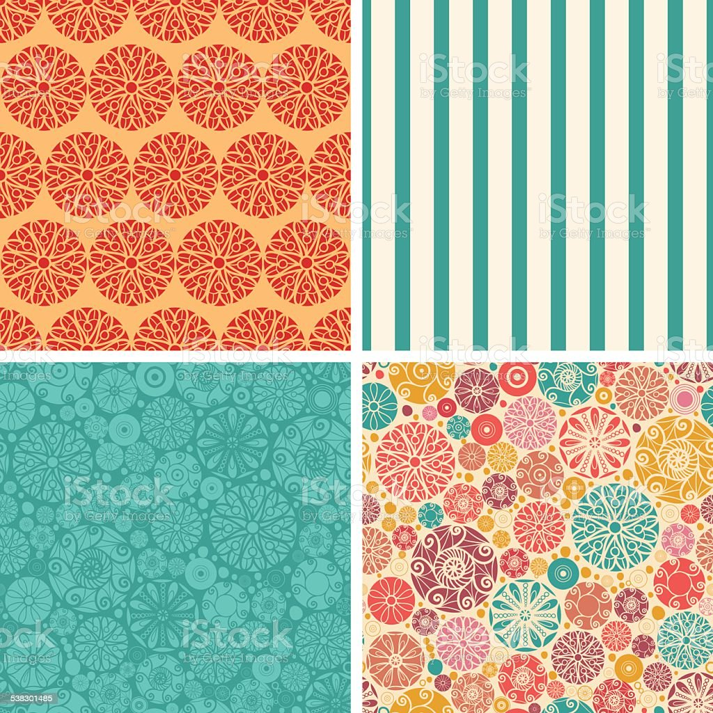 Vector abstract decorative circles set of four marching repeat patterns vector art illustration