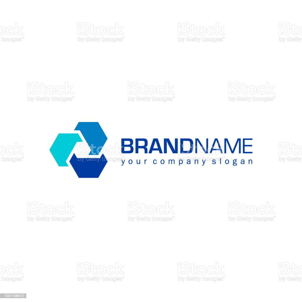 Vector abstract design icon for business. Fusion sign vector art illustration