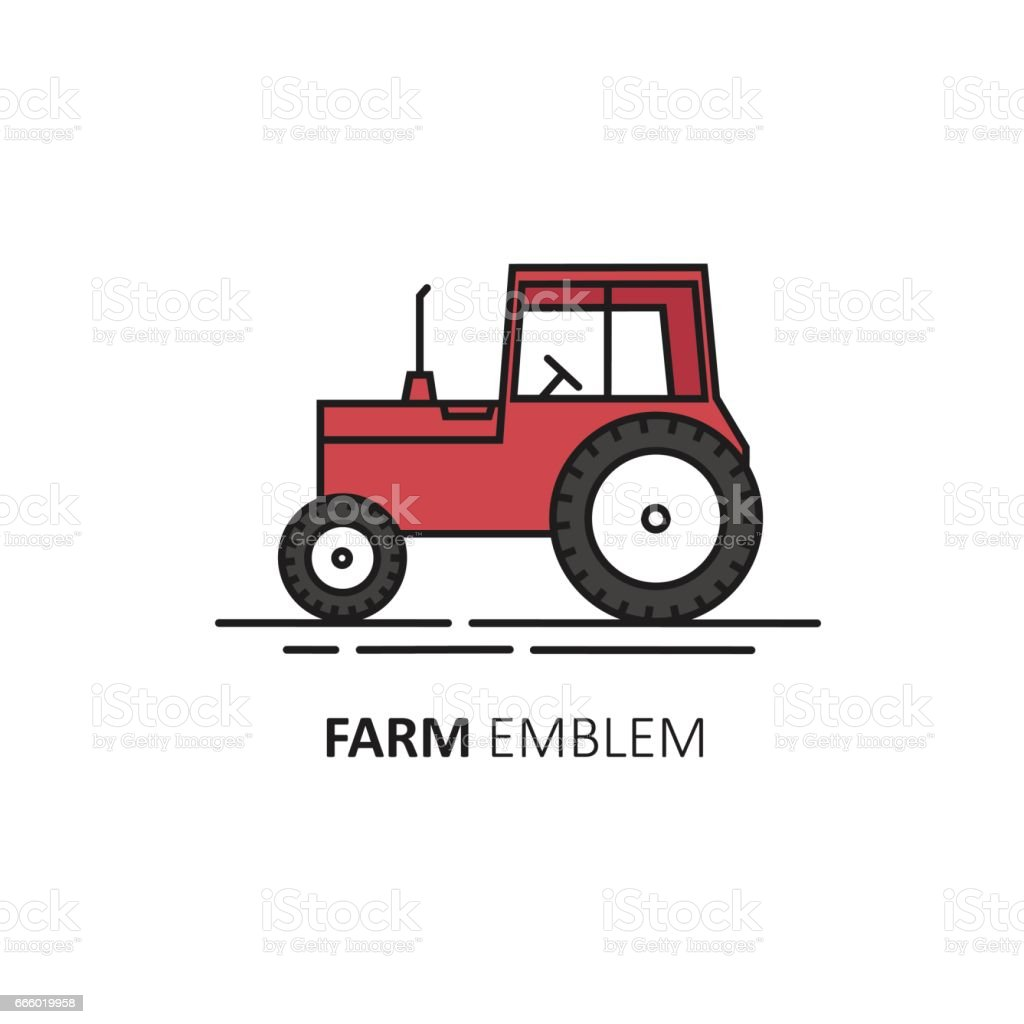 vector abstract design template in linear style red tractor stock