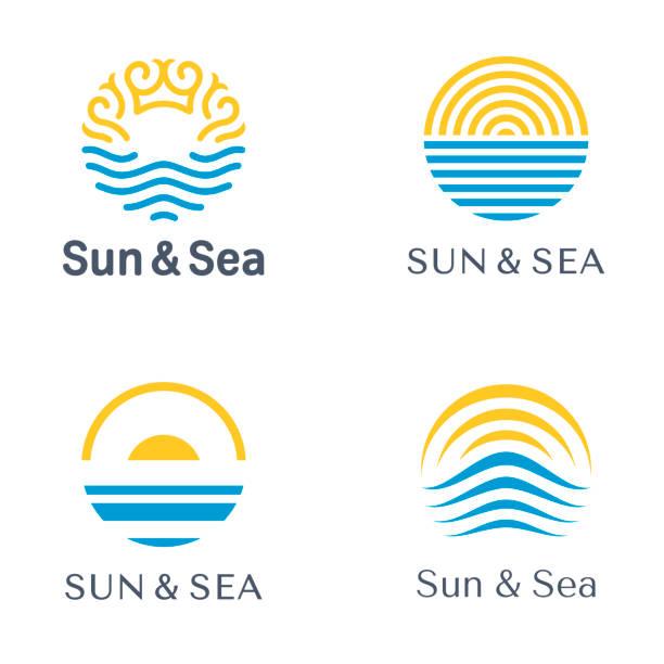 Vector abstract design template. Sun and Sea logo set. vector art illustration