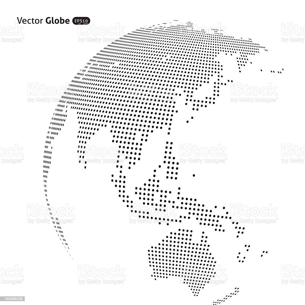 Vector abstract dotted globe vector art illustration