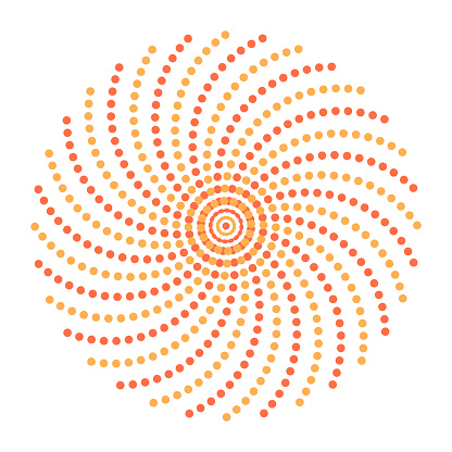 Vector abstract dotted shape. Curved geometric figure from points.