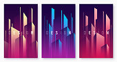 Vector gradient geometric abstract backgrounds, colorful minimal cover designs, futuristic posters with stylized urban cityscape. Global swatches.