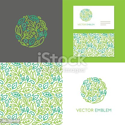 Vector abstract emblem - insignia made of green leaves and flowers - set of design elements for organic shop or yoga studio, cosmetics, beauty products, organic and healthy food  - logo, seamless pattern and business card templates