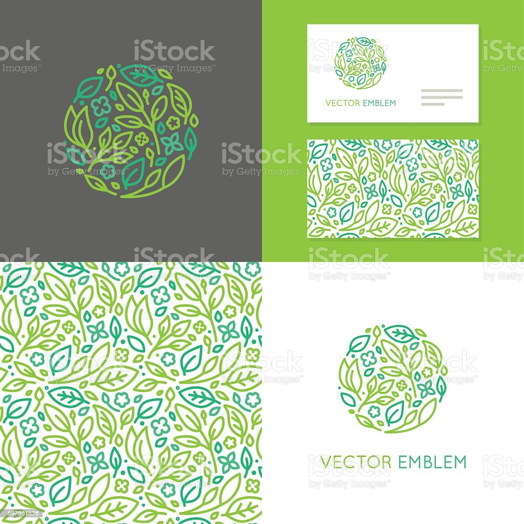 Vector abstract emblem for organic shop vector art illustration