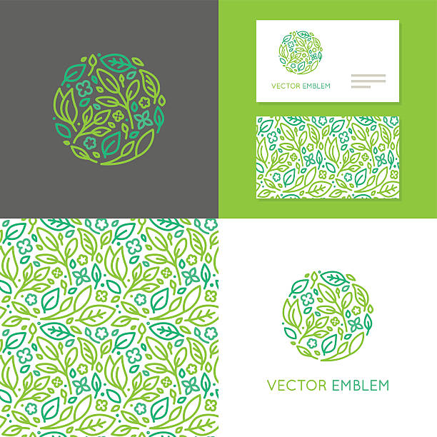 vector abstract emblem for organic shop - organic stock illustrations, clip art, cartoons, & icons