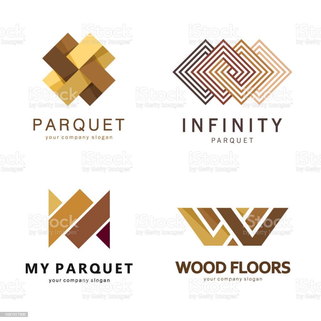 Vector abstract emblem template. Design icons for parquet, laminate, flooring, tiles