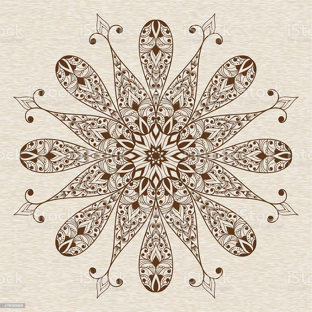 Vector Abstract Ethnic  Floral Design Element royalty-free stock vector art