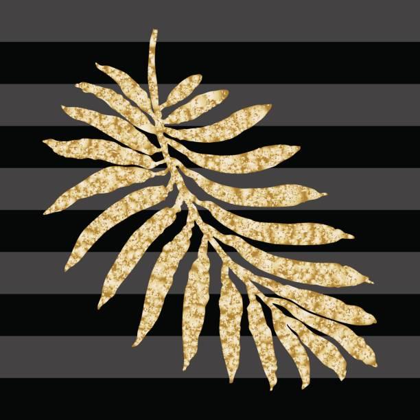 vektor abstrakte blumenmuster nahtlos. golden glitzert. tropischen palmblatt mit metallische textur. exotischen pflanzen silhouette. gestreifte dunklen schwarzen hintergrund. batik farbe, tapete, böhmischen textildruck - gartenfolie stock-grafiken, -clipart, -cartoons und -symbole