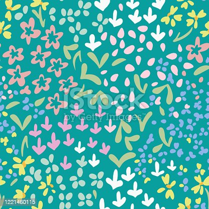 Vector abstract floral seamless pattern with daisies and meadow flowers. Simple fantasy plants made of buds and leaves. Glade of small flowers. Flat doodle background for textile, fabric, fashion.