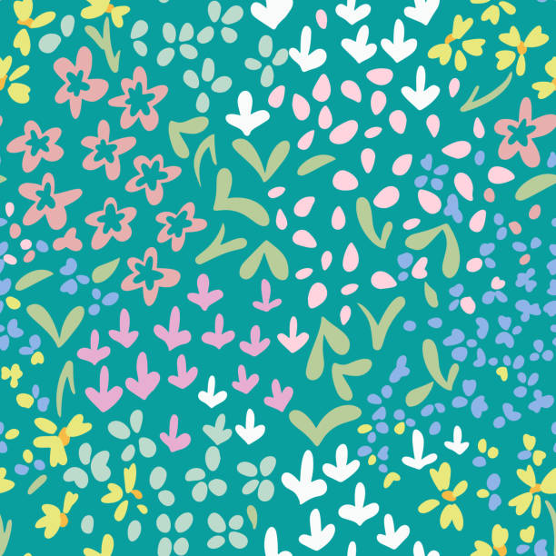 Vector abstract floral seamless pattern with daisies and meadow flowers. Doodles. Vector abstract floral seamless pattern with daisies and meadow flowers. Simple fantasy plants made of buds and leaves. Glade of small flowers. Flat doodle background for textile, fabric, fashion. art and craft stock illustrations