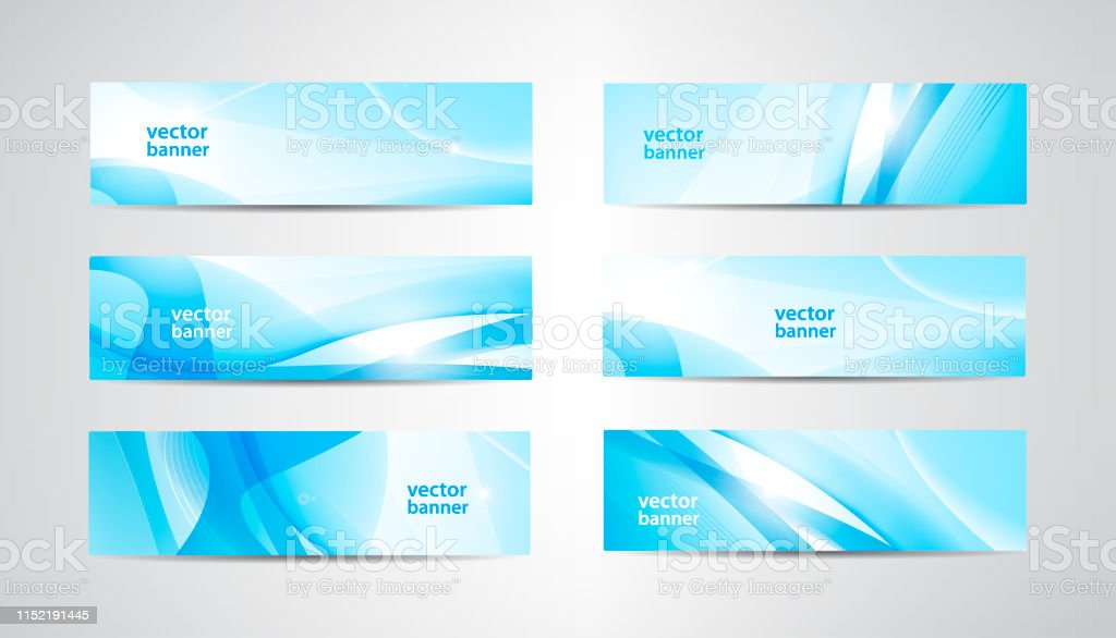 Vector abstract flow wavy banners set. Water, stream, energy stream...