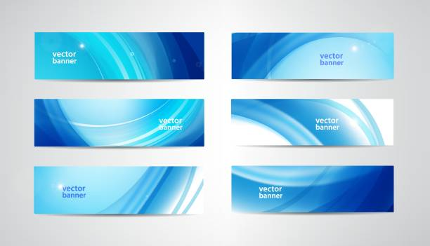 vector abstract flow wavy banners set. water, stream, energy stream horizontal backgrounds. wave liquid, transparent, gradient headers - blue drawings stock illustrations