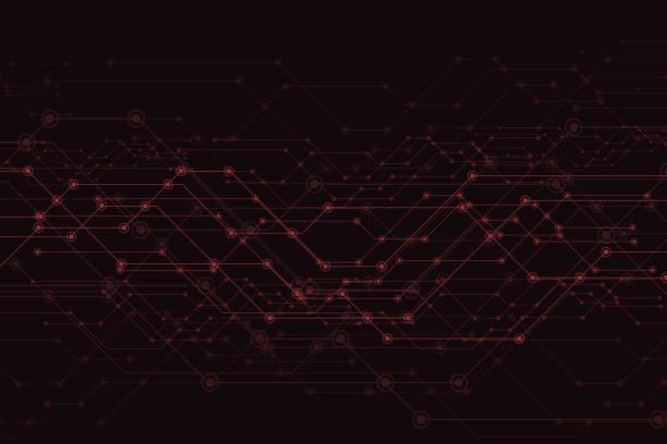 ilustrações de stock, clip art, desenhos animados e ícones de vector abstract futuristic, circuit board and mesh line - vr red background