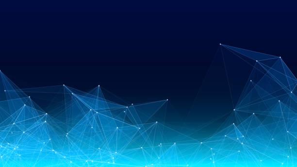 bildbanksillustrationer, clip art samt tecknat material och ikoner med vektor abstrakt futuristiskt digitalt landskap med partiklar prickar och stjärnor på horisonten. dator geometrisk digital anslutnings struktur. futuristiska blå abstrakt rutnät. intelligens artificiell - triangel slagverksinstrument