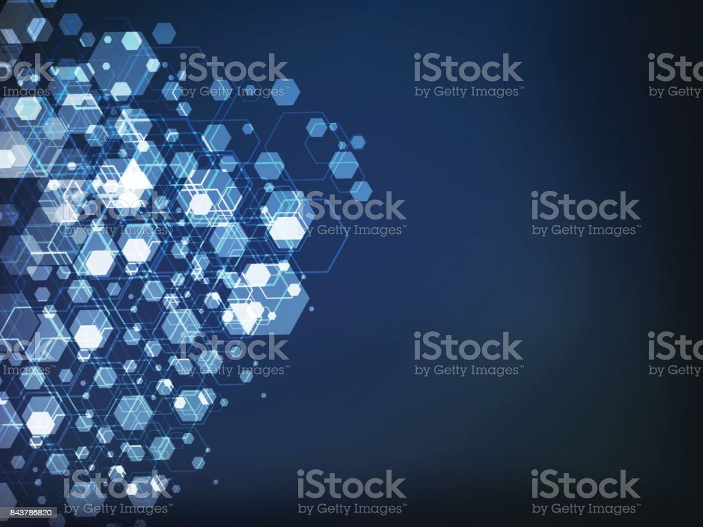 Vector Abstract futuristic polygon, Illustration technology dark blue color background. Hi-tech digital concept vector art illustration