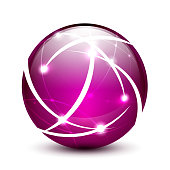 Glossy purple sphere with shiny elements.