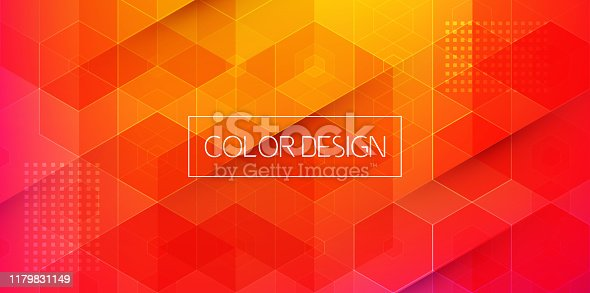 Vector Abstract geometric background. Template brochure design. Color hexagon shape