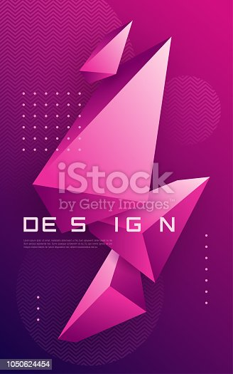 Vector abstract geometric background with 3d triangular shapes, colorful minimal cover design, polygonal futuristic poster. Global swatches.