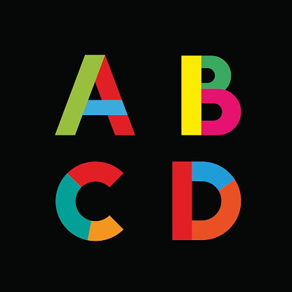 Vector abstract geometric letter A,B,C,D