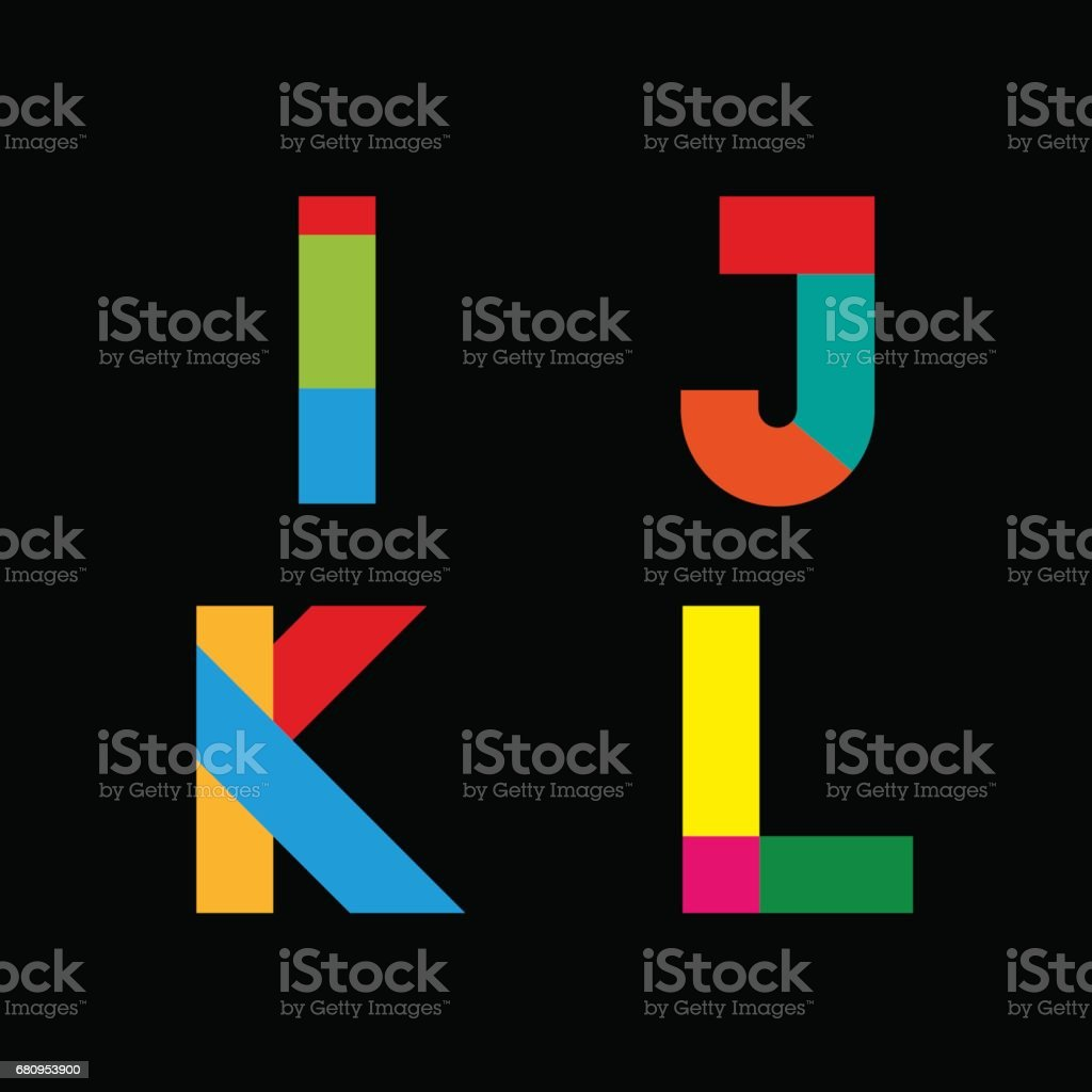 Vector abstract geometric letter I,J,K,L vector art illustration