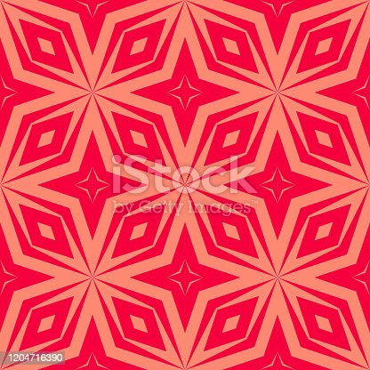 Vector abstract geometric seamless pattern. Ornamental texture with diagonal lines, diamonds, floral shapes, stars, rhombuses, grid, net, lattice. Red and coral color. Simple background. Repeat design