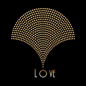 Vector abstract geometrical image of fountain silhouette. Fan shaped element, consisting from small metallic gold hearts.icon design, love sign. Golden emblem on black background