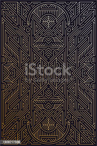 istock Vector abstract golden background with arabic motifs. Art deco wedding, party pattern, geometric ornament. 1309217336