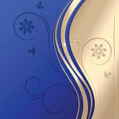 Vector abstract golden  blue background with ornament and curve