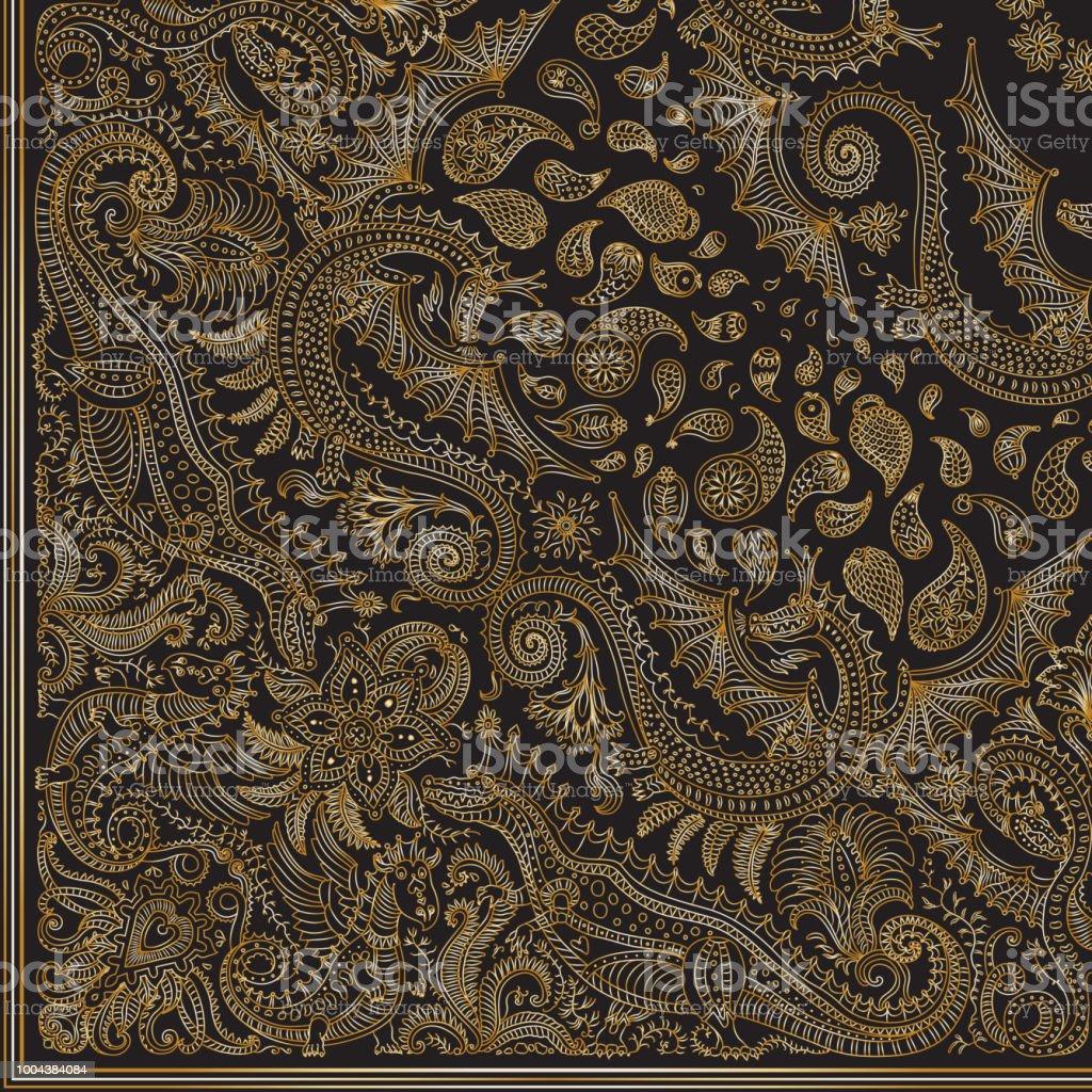 Vector Abstraite Dragon Dore Imprime Sur Fond Noir Motif Paisley Or