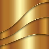 Vector abstract golden metallic background with curves