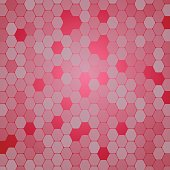 Vector abstract gradient red background with hexagons various opacity and holes.