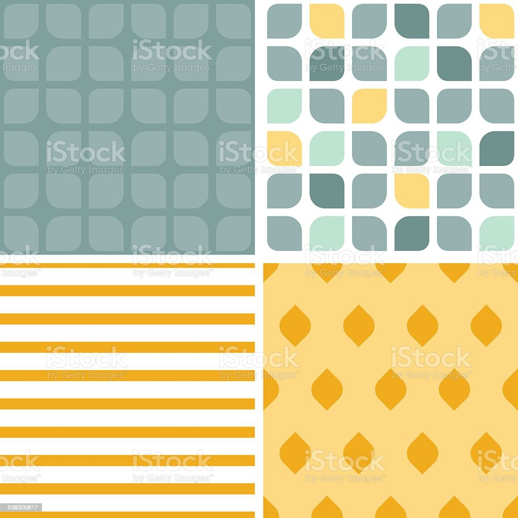 Vector abstract gray yellow rounded squares set of four marching vector art illustration