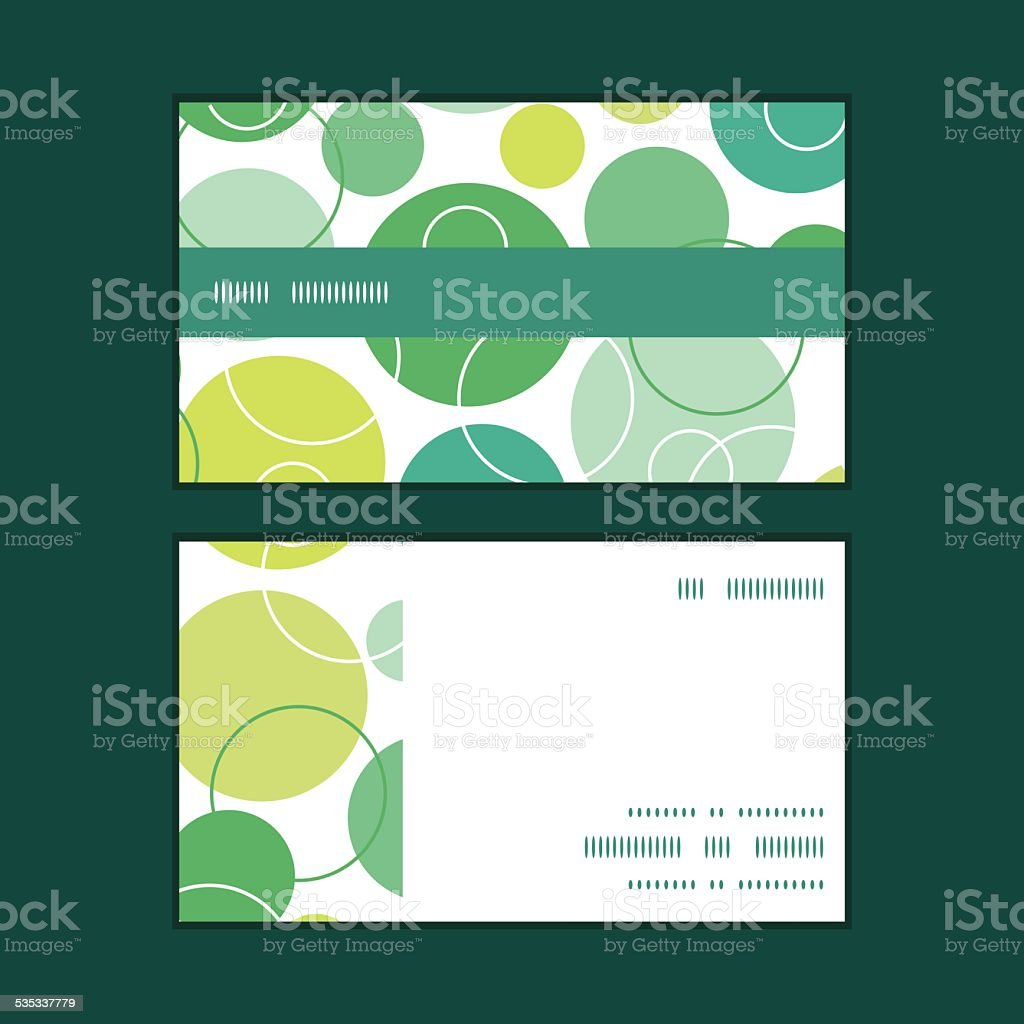 Vector abstract green circles horizontal stripe frame pattern business cards vector art illustration