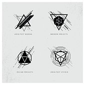 Vector abstract grunge polygonal logo design