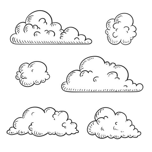 wektor abstrakcyjne ręcznie rysowane chmury - chmura stock illustrations