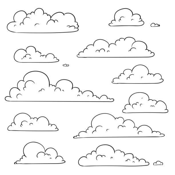 Vector Abstract Hand Drawn Clouds vector art illustration