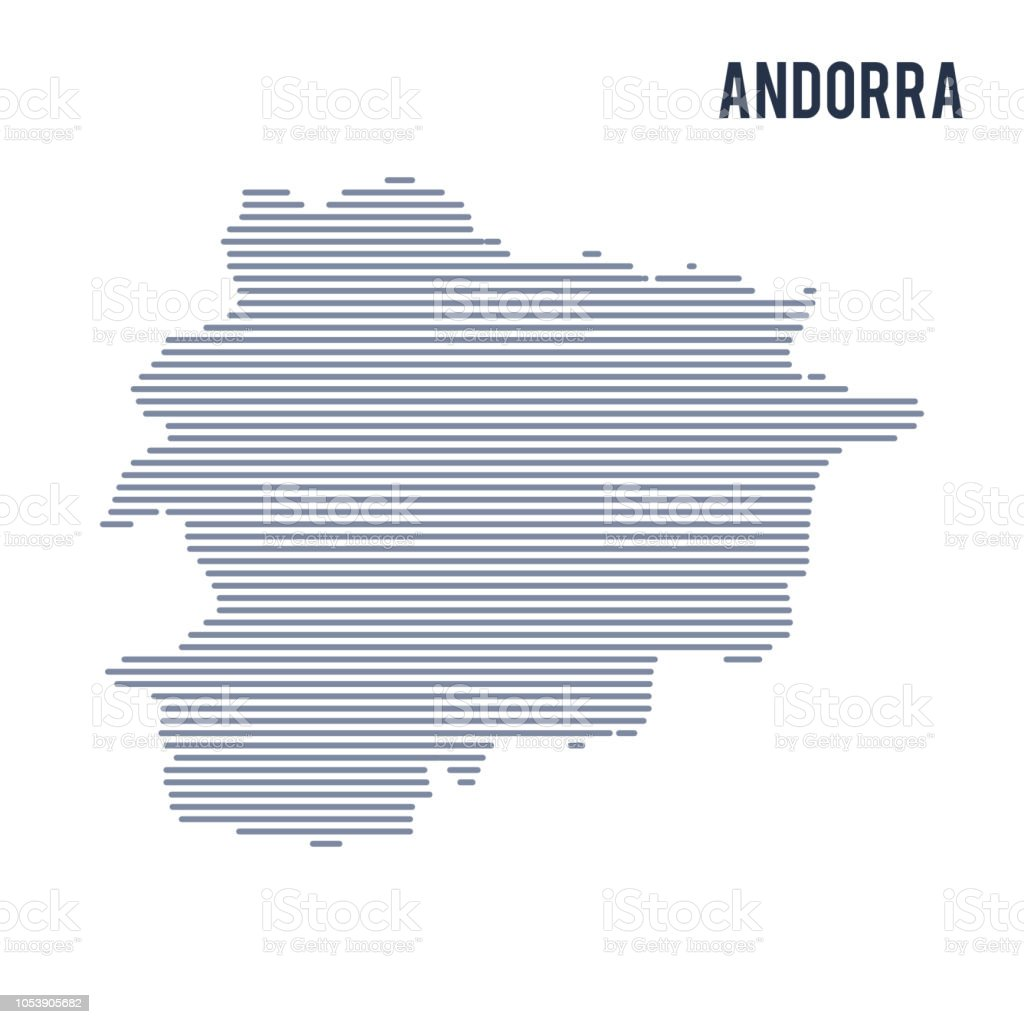 Vector abstract hatched map of Andorra with lines isolated on a white background. vector art illustration