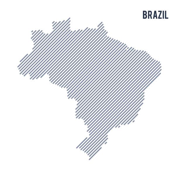 ilustrações, clipart, desenhos animados e ícones de vetor abstrato hachurado mapa do brasil com linhas oblíquas, isolado em um fundo branco. - brazil