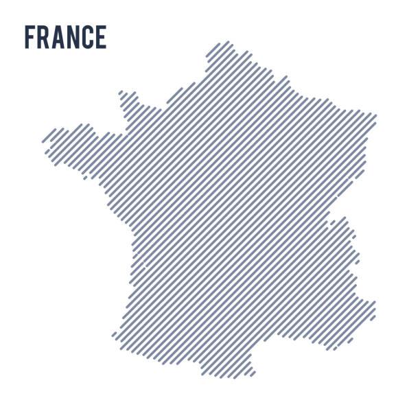 illustrations, cliparts, dessins animés et icônes de vector abstraite éclos carte de france avec des lignes obliques, isolé sur fond blanc. - france