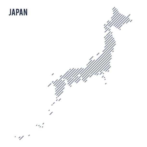 ベクトル抽象ハッチ マップ日本の白い背景に分離された斜めの線で。 - 日本 地図点のイラスト素材/クリップアート素材/マンガ素材/アイコン素材