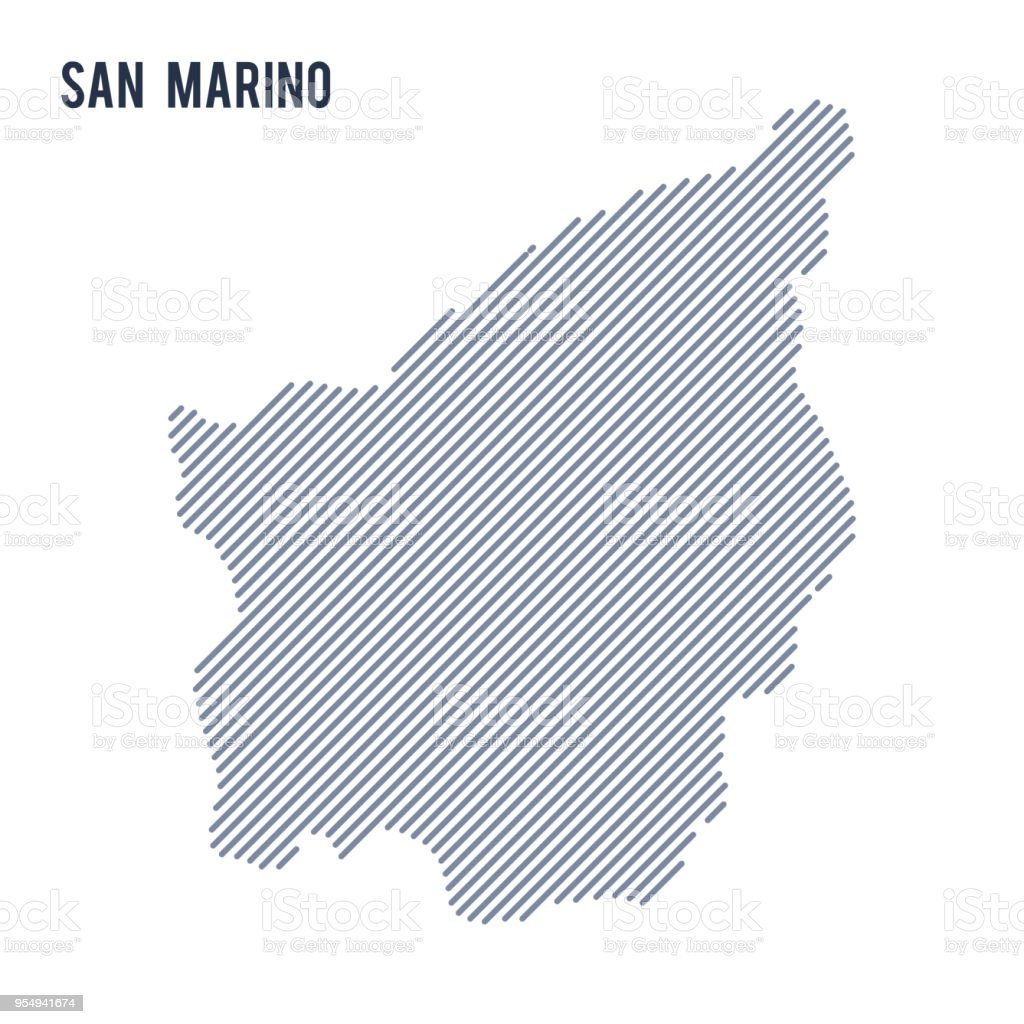 Vector abstract hatched map of San Marino with oblique lines isolated on a white background. vector art illustration