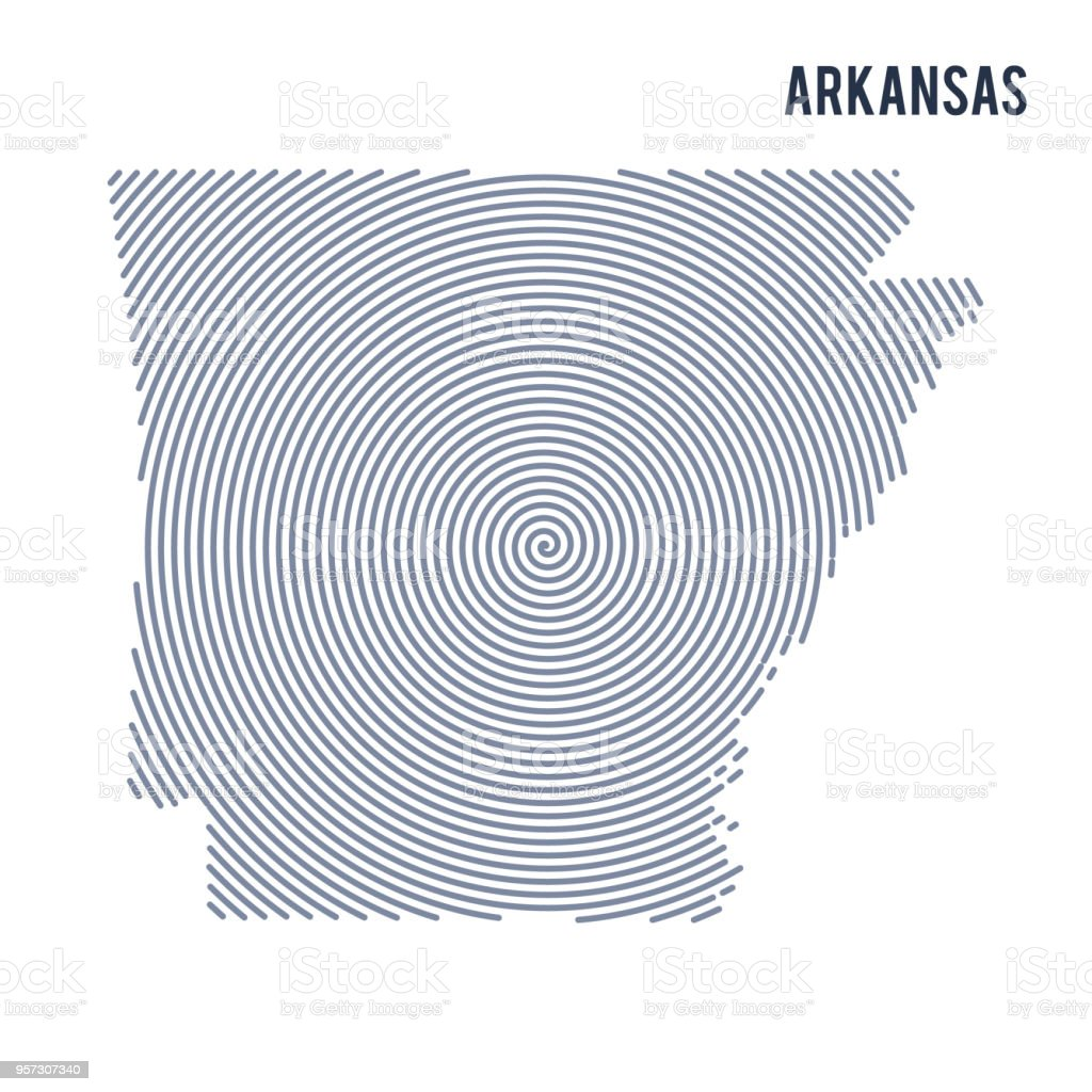 Vector abstract hatched map of State of Arkansas with spiral lines isolated on a white background. vector art illustration